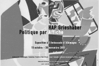 hap grieshaber: politique par affiche / exhibition poster / german embassy, paris / 59,4x42cm / 2002